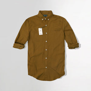 Men Crew Harbour Mustard Oxford Chambray Signature Slim Fit Casual Shirt  (CR-4781)