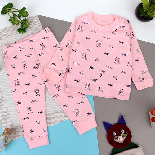Babies allover pattern print Pajama Suit (BS-10084)