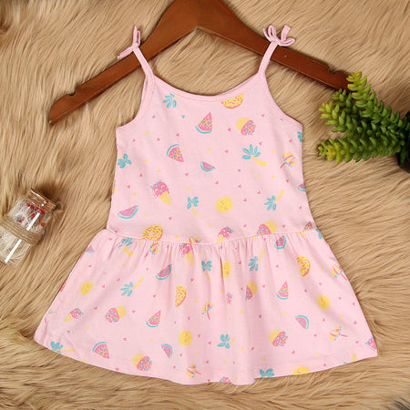GIRLS IMPORTED ALL OVER FRUITS PRINTED STRETCHED FROCK (IN-11577)