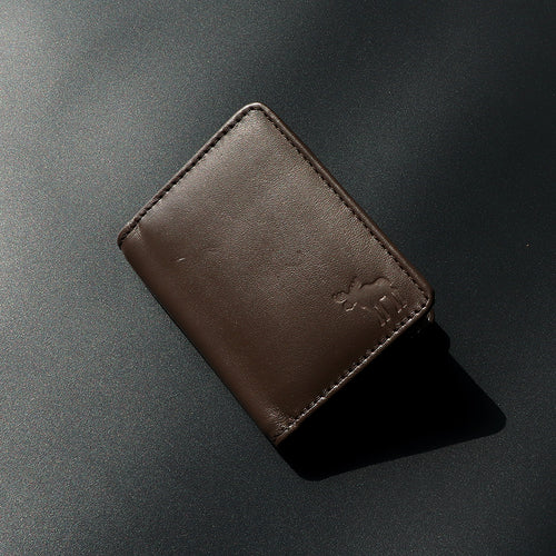 Genuine Full Grain Leather Brown mini Wallet (DS-4795)