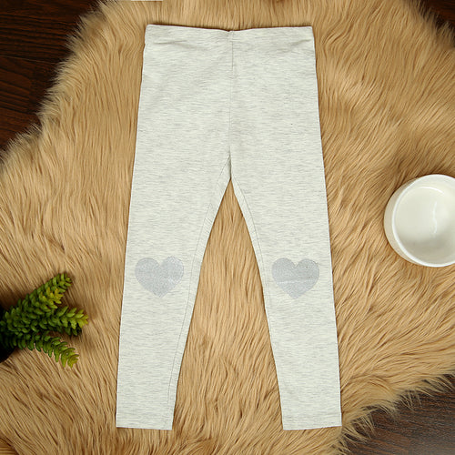 Girl Imported Heart Printed Cotton Jersey Legging (HM-11574)