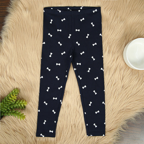 Girls navy Imported All-Over Heart Printed Cotton Jersey Legging  (HM-11571)