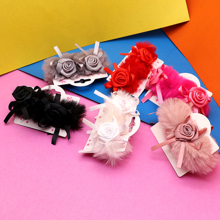 Fluffy Flower decorated Hair bobbles