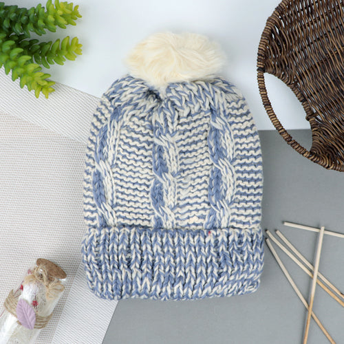 Imported Fur lined Acrylic Knitted Beanie Hat (CP-20735)