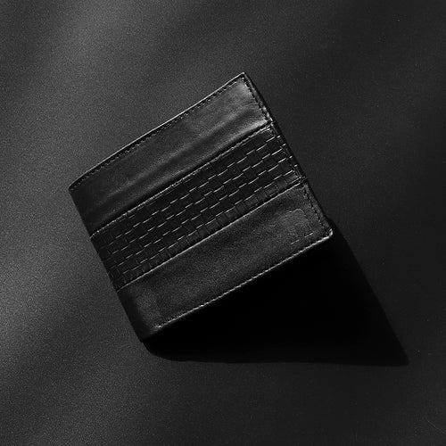 Dear Stag Genuine Full Grain Leather Textured Strap Black Wallet (DS-4789)