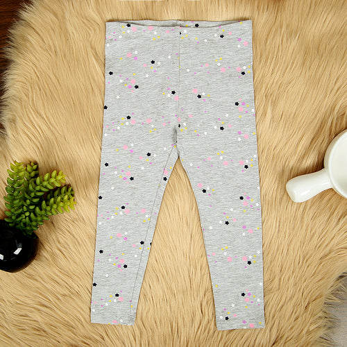 Girls Grey Imported All-Over Heart Printed Cotton Jersey Legging  (HM-11568)
