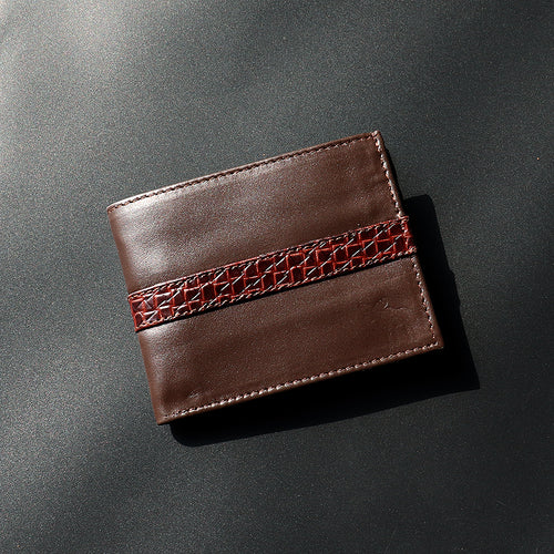 Dear Stag Genuine Full Grain Leather Textured Strap Brown Wallet (DS-4791)