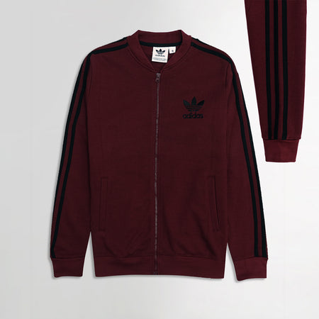 AD Burgundy Tri Striped Retro Zipper Bomber JACKET (AD-1927)