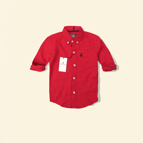 Crew Harbour Kids Red Signature Oxford Casual Shirt (CR-10111)
