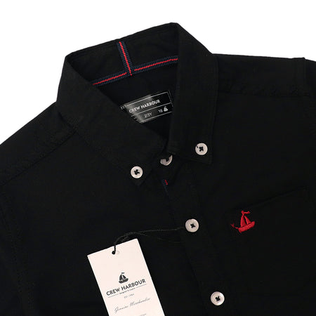 Crew Harbour Kids Black Signature Oxford Casual Shirt (CR-10118)