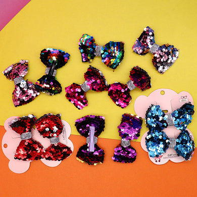 Pack of 2 Girls Sequin Big Bow Hair Clip
