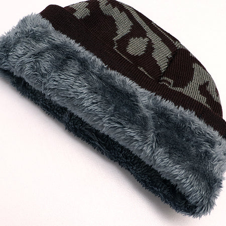 Kimp Fur Lined Textured fitted beanie Cap (CP-1934)