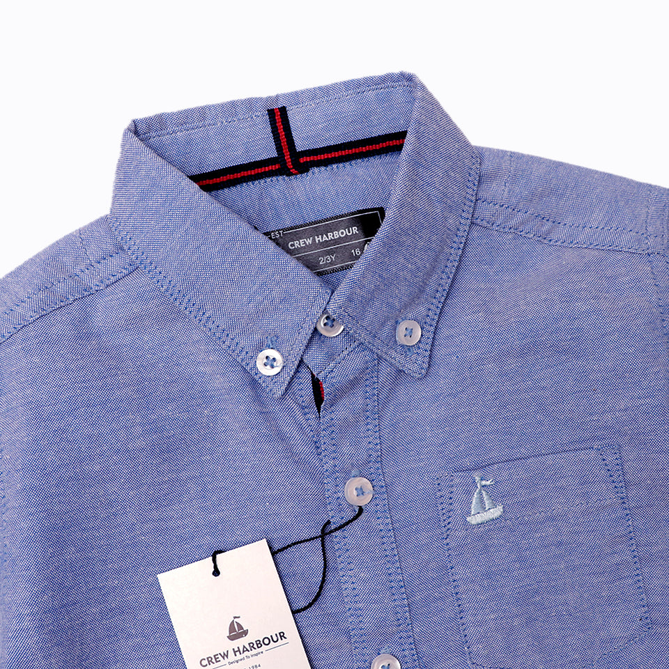 Crew Harbour Kids Drizzling Blue  Signature Oxford Casual Shirt (CR-10117)
