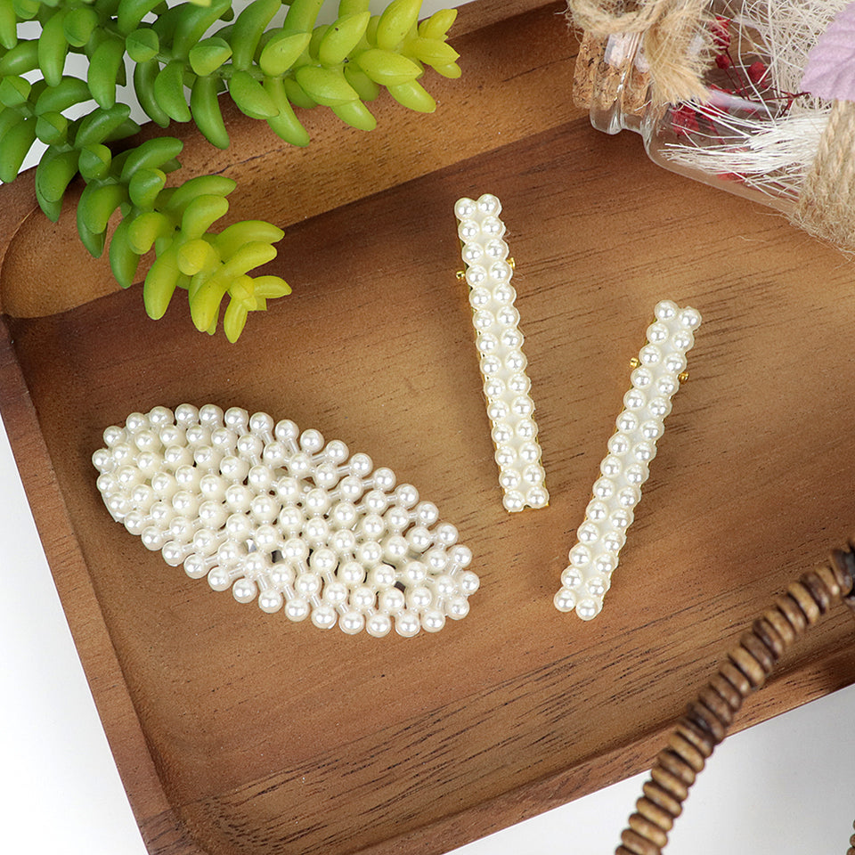 Pearl Decorated Hair clip and Pin Set