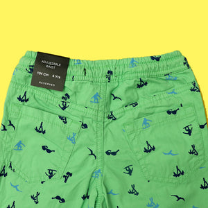 RE Boys Rust Green weaved cotton poplin all Over Printed  Rugby shorts (RE-5142)