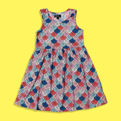 Picpino Girls Imported All over Sea Shells printed Stretched frock Dress (PC-5130)