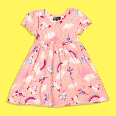 Picpino Girls Imported All over Unicorn and Castle printed Stretched frock Dress (PC-5118)