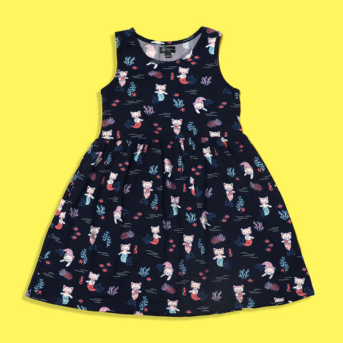 Picpino Girls Imported All over Cat Mermaid printed Stretched frock Dress (PC-5128)