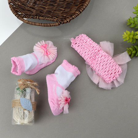 Pack of 2 Hudson Baby  Girl  Headband and Socks Giftset (ST-20539)