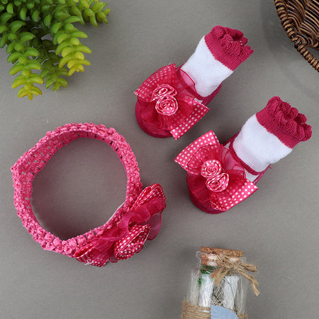 Pack of 2 Hudson Baby  Girl  Headband and Socks Giftset (ST-20537)