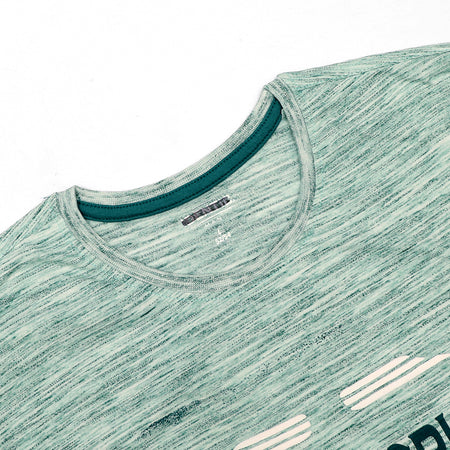 ID Men Green Textured Graphic Tee Shirt  (ID-5018)
