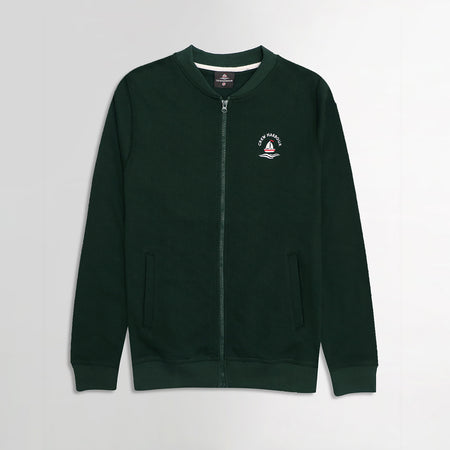 Crew Harbor Bottle Green Bomber Jacket With Left Chest Embroidery (CR-2059)
