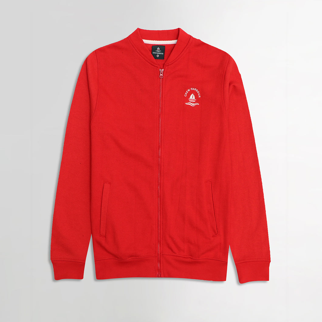 Crew Harbor Red Bomber Jacket With Left Chest Embroidery (CR-2060)