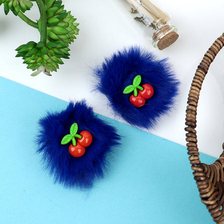 Anglia Fluffy over sized Cherry Decorated Alligator Hair Clips