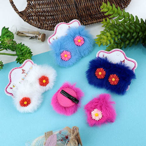 Anglia Fluffy over sized Flower Decorated Alligator Hair Clips