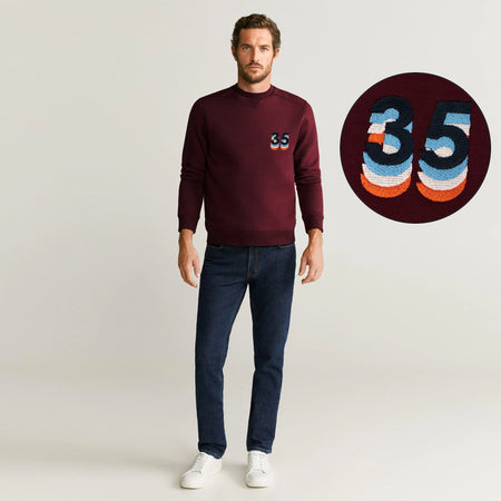 Men Premium Quality Heavy Fleece V-Notch 3D Embroidered Sweatshirt (10619)