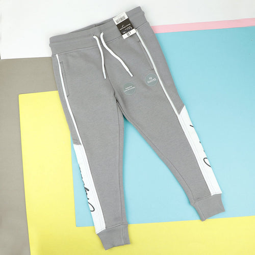 Boys Grey Cuffed Paneled Fleece Joggers With Piping & Print (GO-10620)