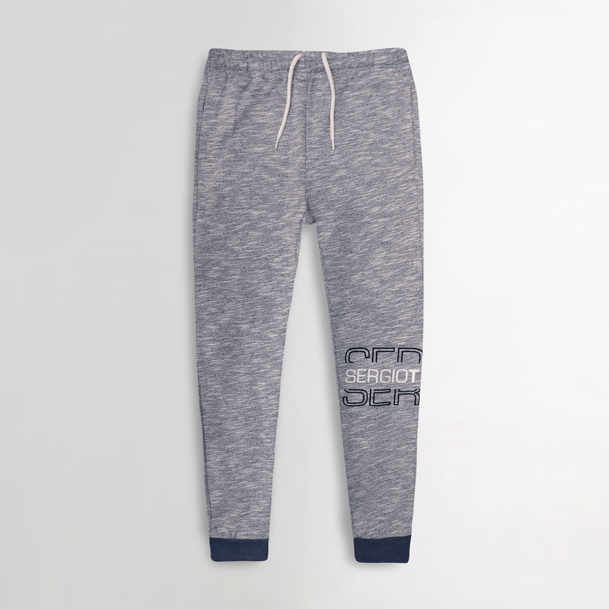 Men Exclusive Textured Grey Slim Fit Printed Jogger Trouser (SR-10624)
