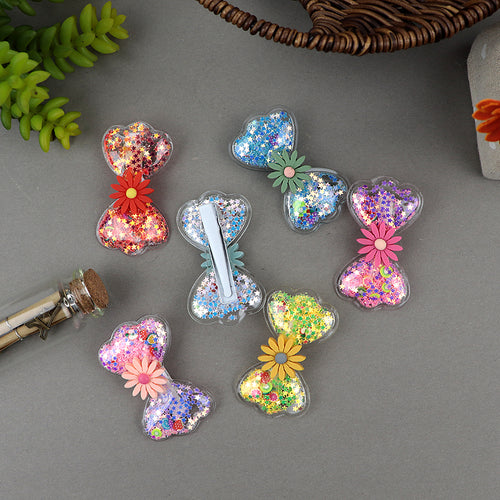 Sparkle Filled Flower Decorated Bow Alligator Hair Pins
