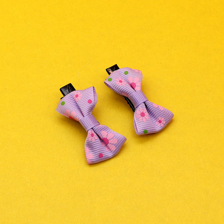 Pack of Two Canvas Printed Bow alligator Hair Pins