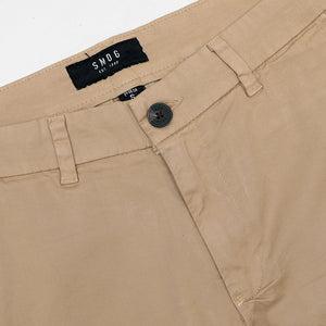SMG Men Stretch Belt looped Beige Chino Shorts  (SM-5154)