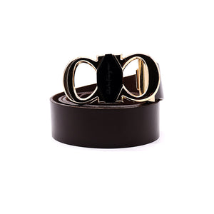 Signature Gancini Gold Buckle Leather Belt (FE-2093)