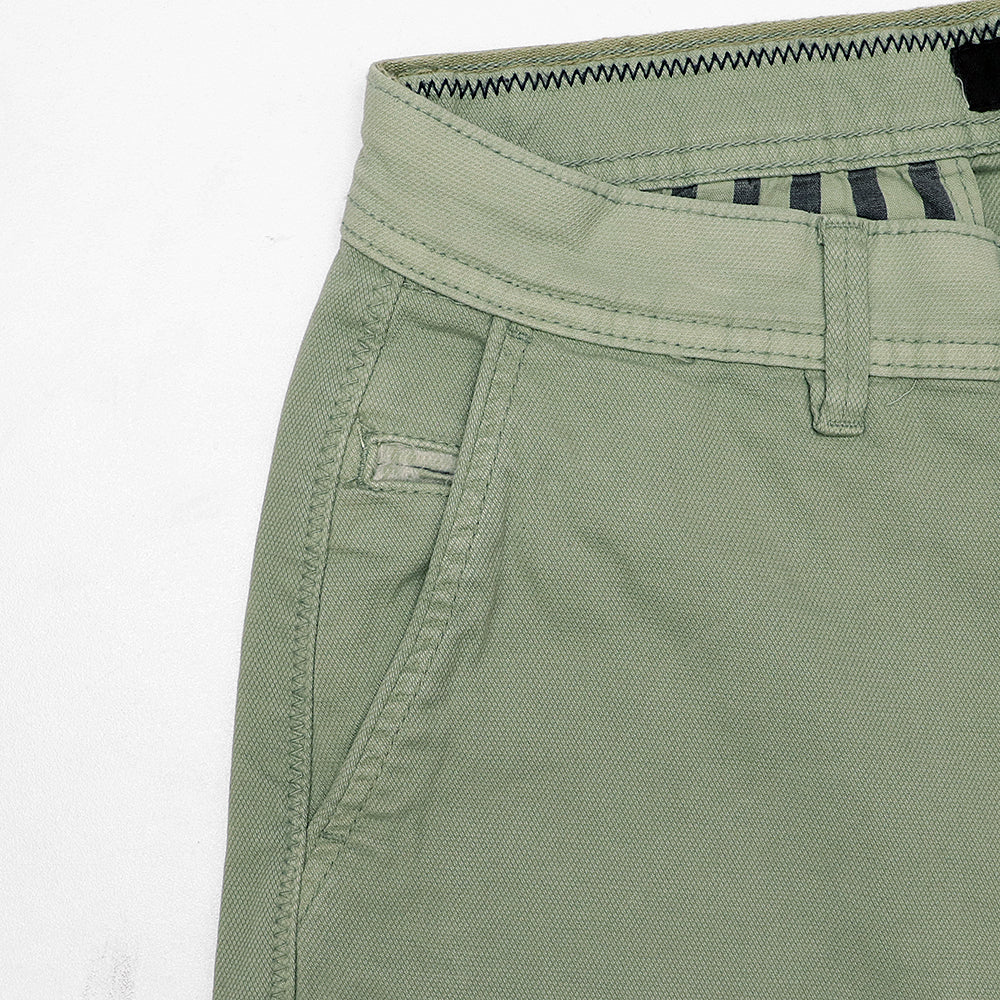 SMG Men Stretch Belt looped Popcorn Textured Green Chino Shorts  (SM-5149)