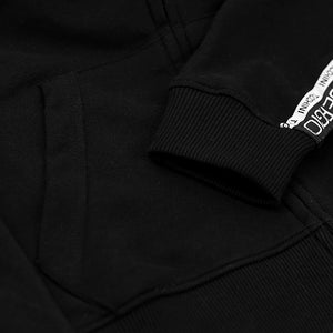 MEN PRINTED BLACK FLEECE ZIPPER HOODIE WITH SIGNATURE WEAVE TAPE AT ARMS (SG-10635)