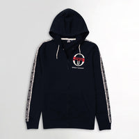 MEN PRINTED BLACK FLEECE ZIPPER HOODIE WITH SIGNATURE WEAVE TAPE AT ARMS  (SG-10657)