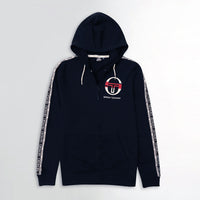 MEN PRINTED NAVY ZIPPER HOODIE WITH SIGNATURE WEAVE TAPE AT ARMS (SG-11016)