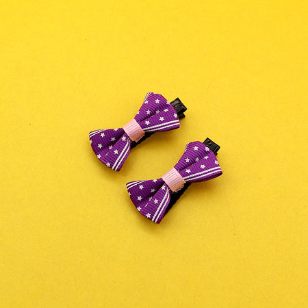 Pack of Two Canvas Floral  Printed Bow alligator Hair Pins