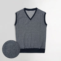 Men Sleeveless Melange Ringer Slim Fit V Neck Sweater (IS-11109)