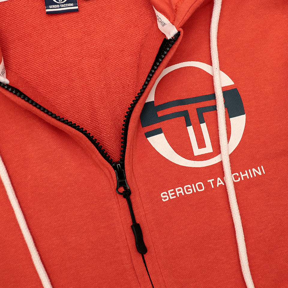 Men Printed Brunt Orange Fleece Zipper Hoodie With Signature Weave Tape at Arms (SG-10648)