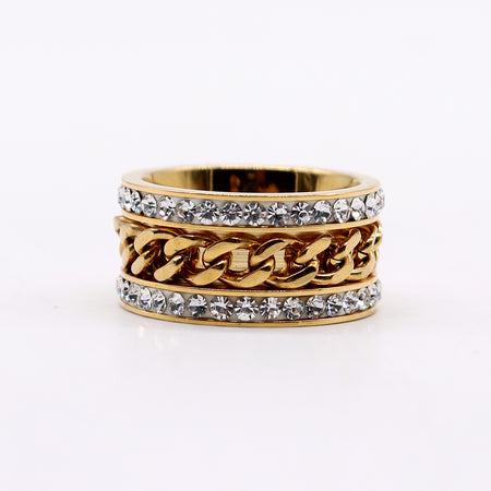 PREMIUM QUALITY GOLD COLORED DIAMANTE EMBELLISHED RING (DI-2179)