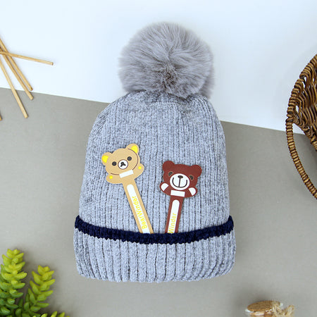 Kids Velvet Look Premium Quality Soft Knit Fur Lined Stretch Caps