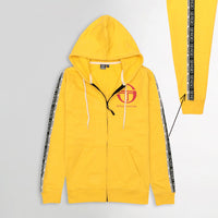 MEN PRINTED YELLOW FLEECE ZIPPER HOODIE WITH SIGNATURE WEAVE TAPE AT ARMS (SG-10651)