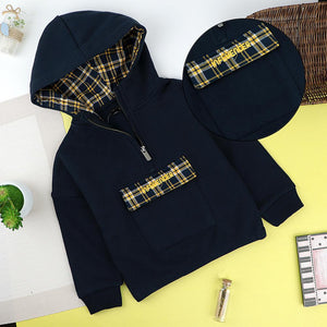 Kids Navy 'INFLUENCER' Embroidered Velcro Pouch Pocket Fleece Hoodie (TE-10218)
