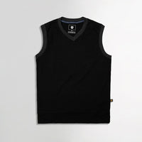 Men Sleeveless Melange Ringer Slim Fit V Neck Sweater