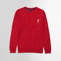 USP Red Men Button up Fleece Cardigan With Signature Embroidery  (US-10172)