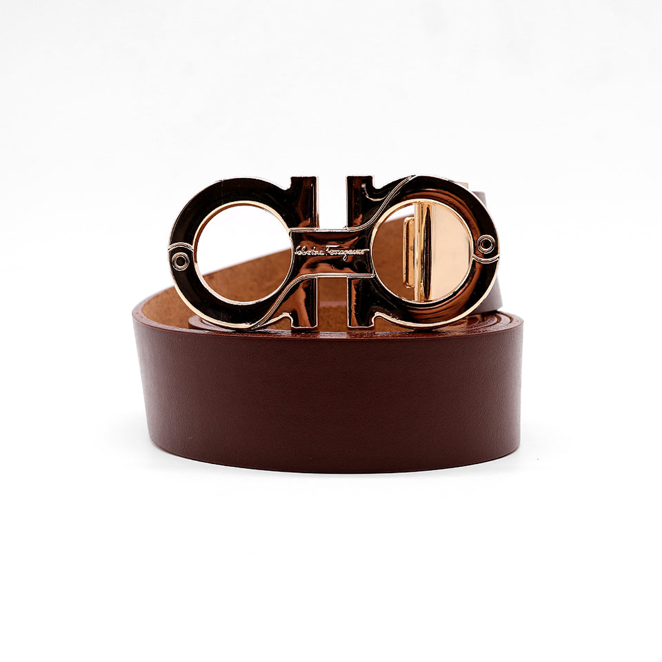 Signature Gancini Gold Buckle Leather Belt (FE-2091)